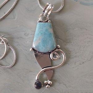 Jewelry - Big natural Larimar stamped pendant neck